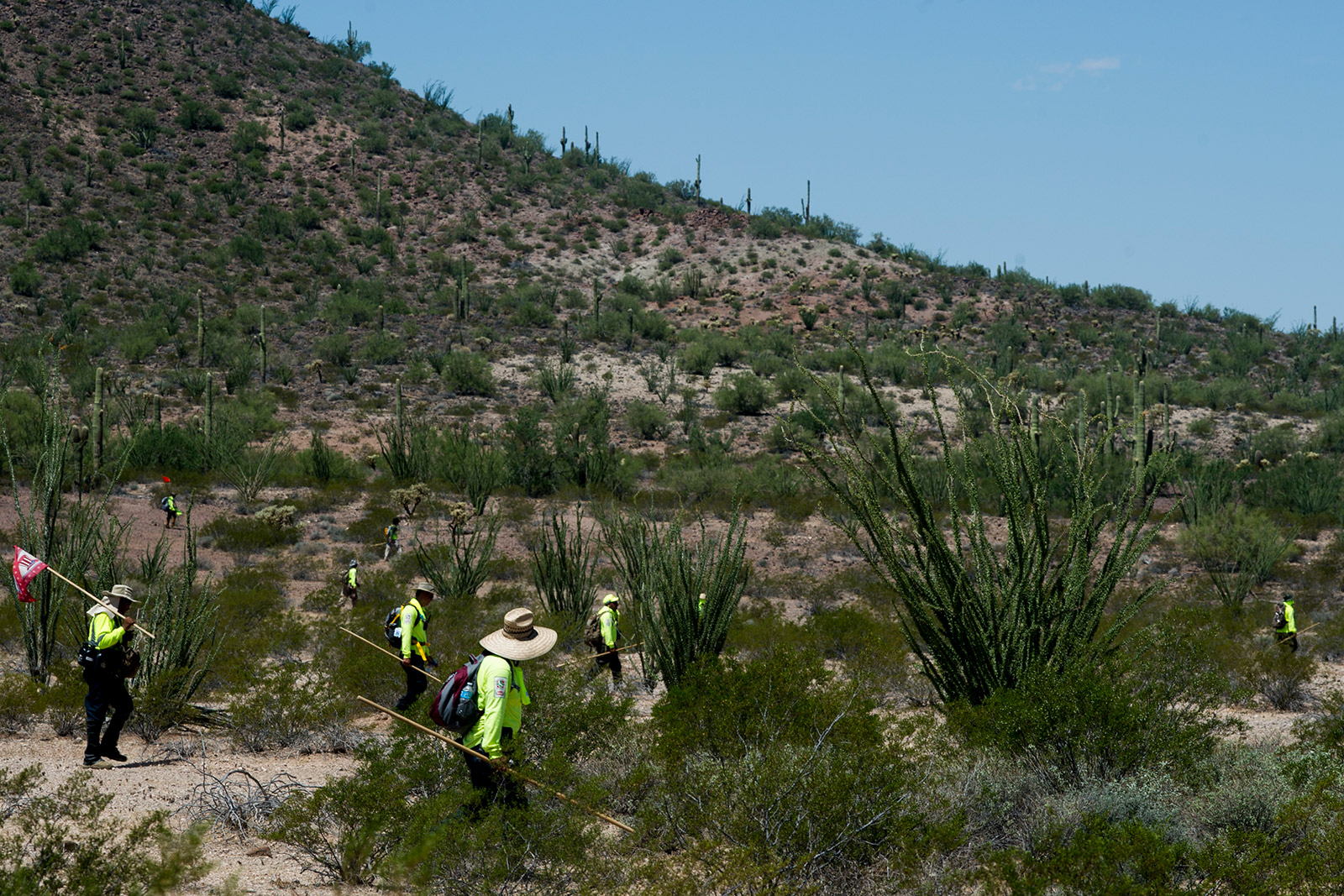 Volunteers with Aguilas Del Desierto span out across the desert along the U.S.-Mexico border in Arizona while searching for missing migrants on Aug. 26, 2017. The group, mostly from Southern California, communicate with radios while searching the last-known whereabouts of Mexican nationals attempting to enter the U.S. illegally. <em>(Brandon Quester/inewsource)</em>