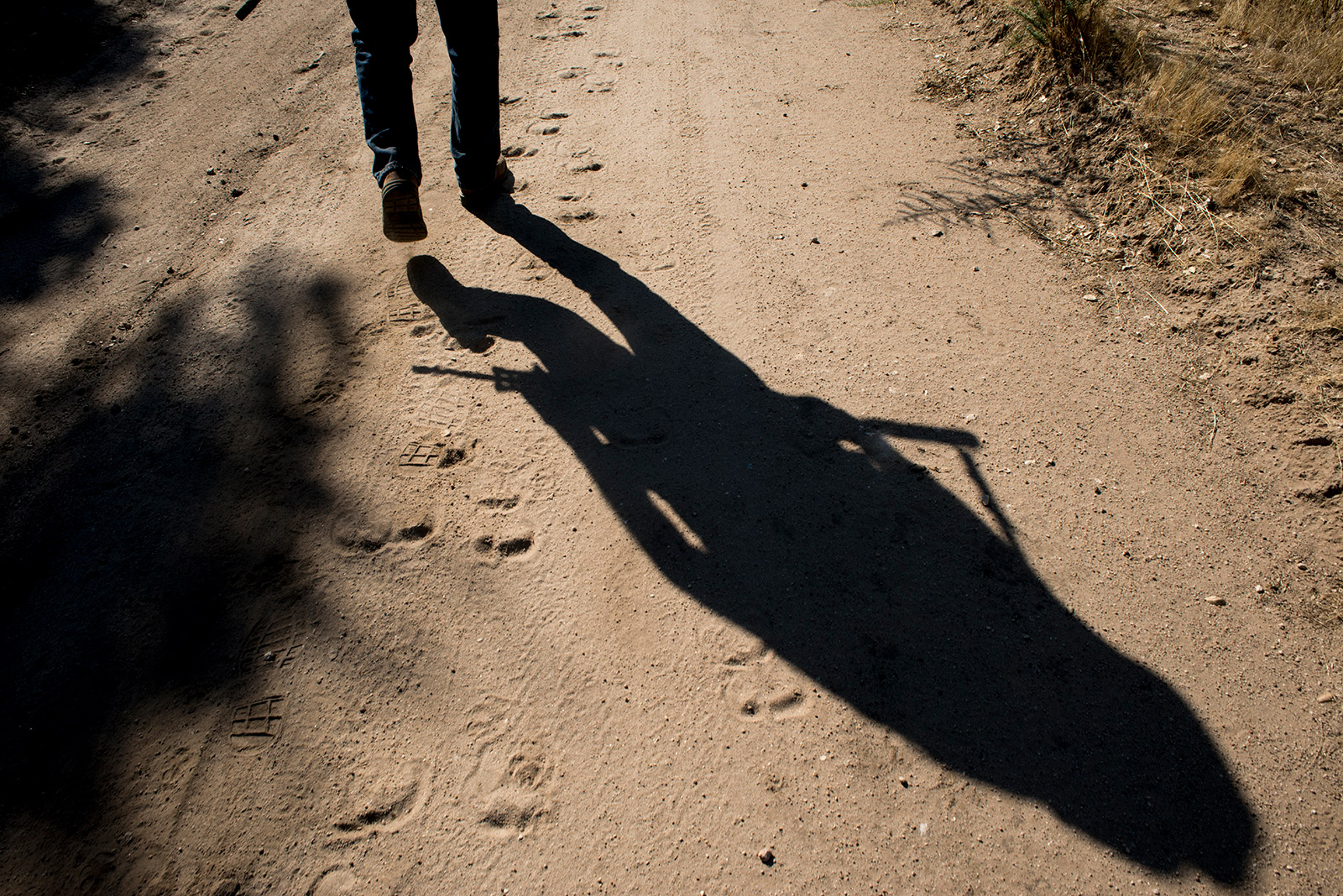 The silhouette of Bob Maupin and his AR-10, or ArmaLite Rifle, extend along a dirt road that leads from his Boulevard home to the U.S-Mexico border outside Boulevard in eastern San Diego County. The photo is from Aug. 30, 2017. <em>(Brandon Quester/inewsource)</em>